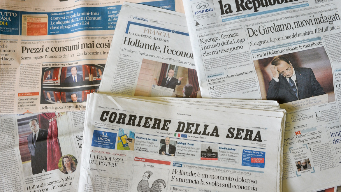Le percentuali di copie rese dei quotidiani italiani